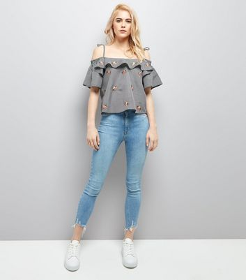 Tall Black Gingham Embroidered Cold Shoulder Top New Look