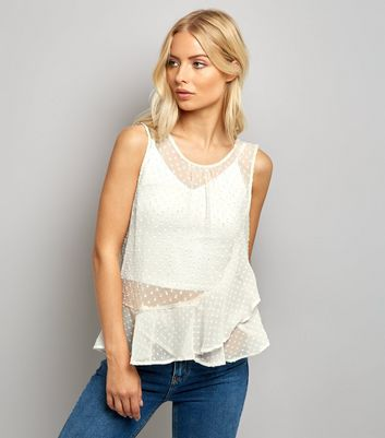 Tall Cream Spot Chiffon Frill Trim Top New Look