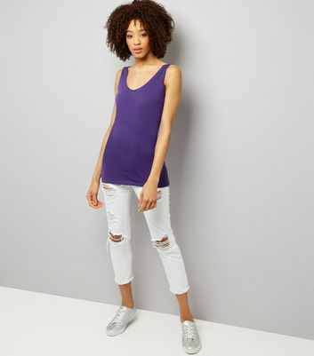 Tall Purple Scoop Neck Longline Vest New Look