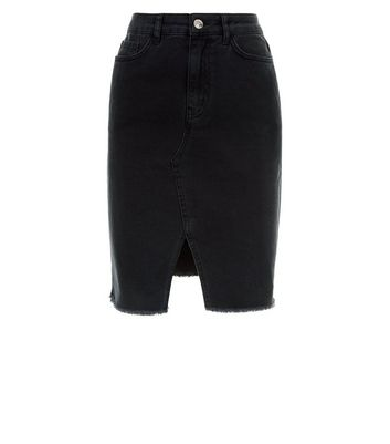 Black Fray Hem Denim Pencil Skirt New Look