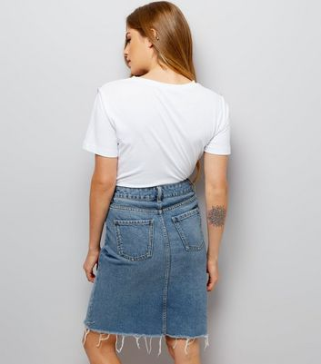 Blue Fray Hem Denim Pencil Skirt New Look