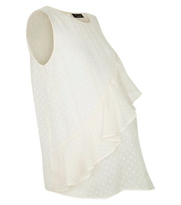 Maternity White Spot Chiffon Frill Front Top New Look
