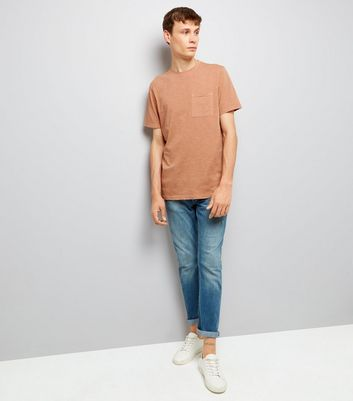 Pink Distresed Pocket Front T-Shirt New Look
