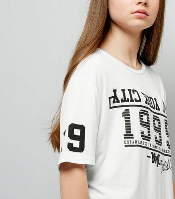 Teens White 1995 Print Mesh Hem Oversized T-Shirt New Look