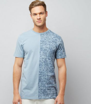 Pale Blue Tonal Spliced T-Shirt New Look