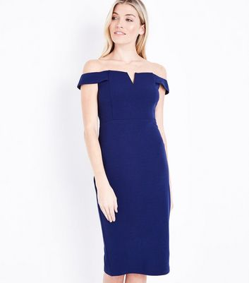 AX Paris Navy Bardot Neck Midi Dress