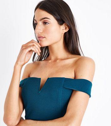 AX Paris Teal Bardot Neck Midi Dress New Look