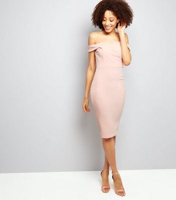 AX Paris Pink Bardot Neck Midi Dress New Look