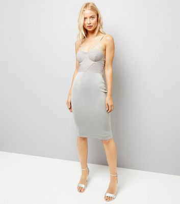 AX Paris Pale Grey Cross Strap Midi Dress New Look