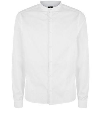 White Long Sleeve Grandad Collar Shirt New Look
