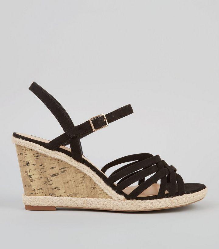d30039949c9 Wide Fit Black Strappy Cork Wedge Heeled Sandals