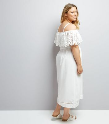 Curves White Cut Out Cold Shoulder Midi Dress New Look