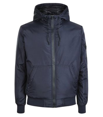Navy Hooded Jacket New Look