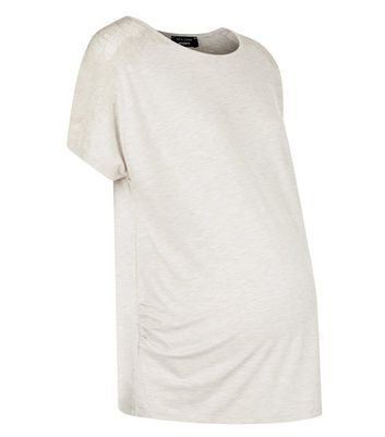 Maternity Cream Lace Trim Jersey Pyjama T-Shirt New Look