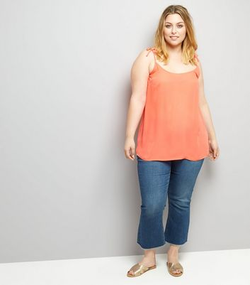 Curves Coral Tie Strap Cami New Look