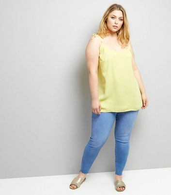 Curves Yellow Tie Strap Cami New Look