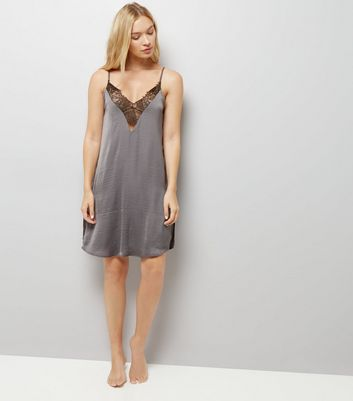 Grey Lace Trim Satin Chemise New Look