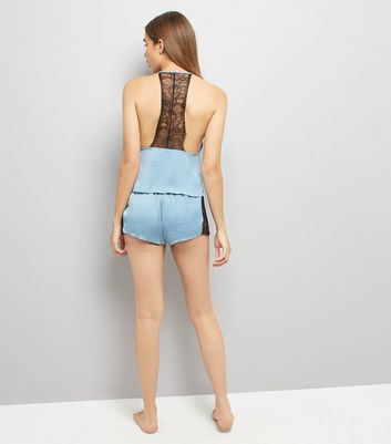 Pale Blue Lace Trim Cami And Shorts Pyjama Set New Look