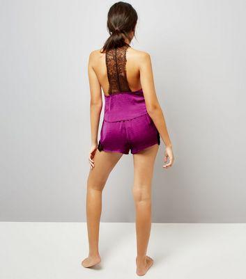 Purple Lace Trim Cami And Shorts Pyjama Set New Look