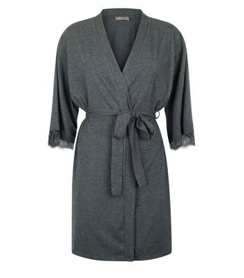 Grey Lace Trim Robe New Look