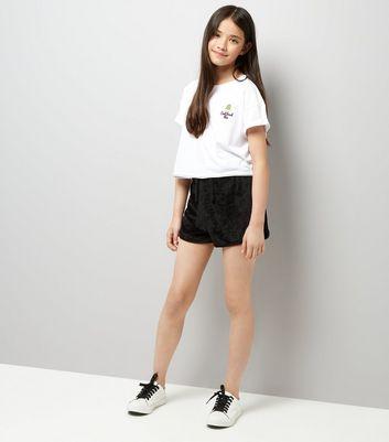 Teens Black Towelling Shorts New Look