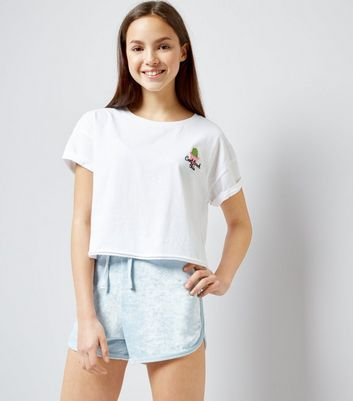 Teens Pale Blue Towelling Shorts New Look