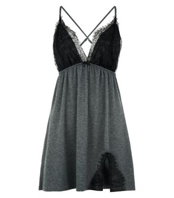 Grey Lace Trim Jersey Chemise New Look