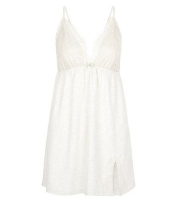 Cream Lace Trim Jersey Chemise New Look