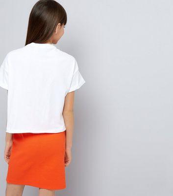 Teens Orange Ribbed Tube Skirt New Look