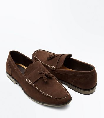 Brown Contrast Stitch Tassel Loafers New Look