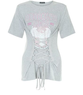 Grey Brooklyn Heights Corset Waist T-Shirt New Look