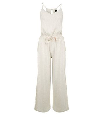 Petite Cream Jersey Lounge Jumpsuit New Look