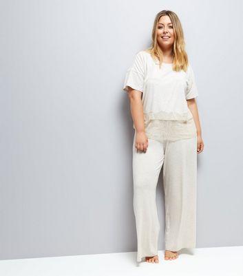 Curves Cream Jersey Pyjama Joggers New Look