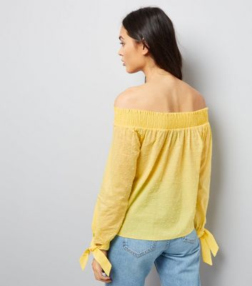 Yellow Bardot Neck Top New Look