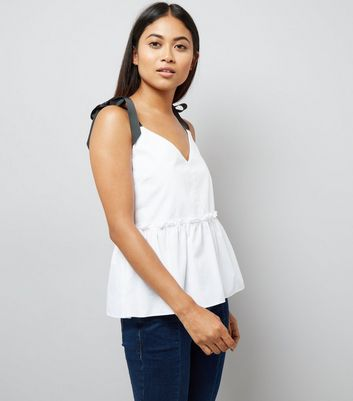 Petite White Contrast Tie Strap Peplum Top New Look