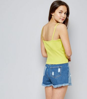 Teens Yellow Ribbed Lattice Front Cami New Look