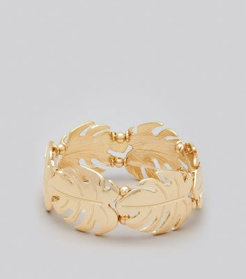 Gold Cheeseplant Leaf Bracelet New Look