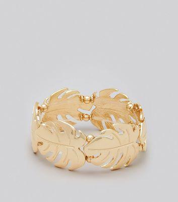 Gold Cheeseplant Leaf Bracelet New Look