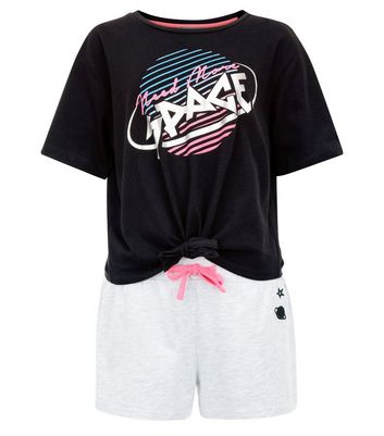 Teens Black Space Slogan Pyjama Set New Look