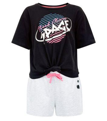 Teens Black Space Slogan Pyjama Set New Look