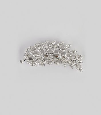 Silver Diamante Leaf Hair Clip New Look