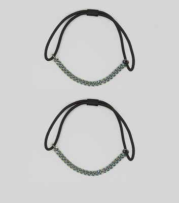 2 Pack Black Chain Trim Hair Bands New Look