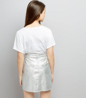 Teens Silver Metallic Skirt New Look