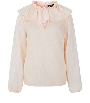 Shell Pink Frill Trim Long Sleeve Top New Look