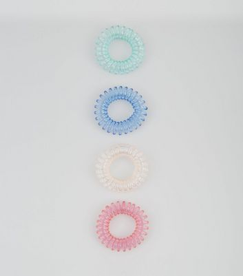 4 Pack Pastel Spiral Bobble Hairbands New Look