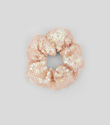 Pink Sequin Scrunchie New Look