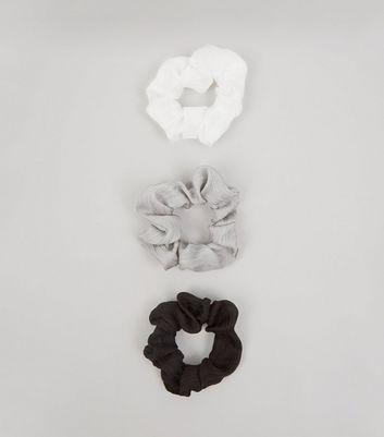3 Pack White Grey and Black Chiffon Scrunchies New Look