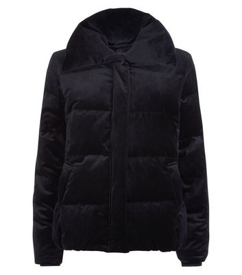Black Velvet Puffer Coat New Look