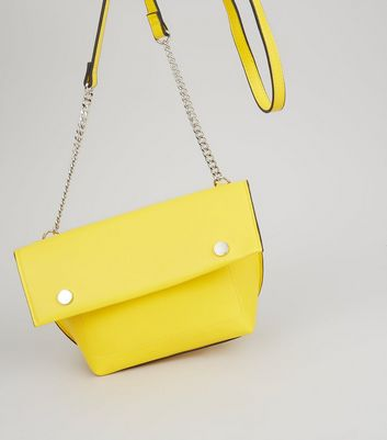 Yellow Stud Detail Gold Over Cross Body Bag New Look