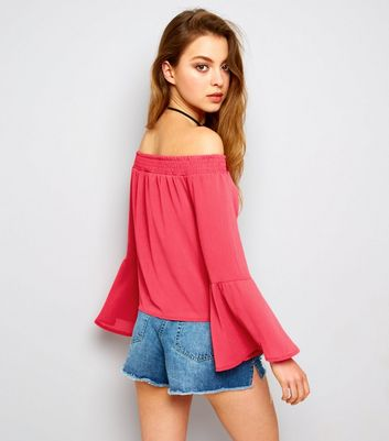 Parisian Bright Pink Eyelet Lace Up Front Bardot Neck Top New Look